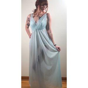 Vintage Van Raalte Blue Maxi Nightgown